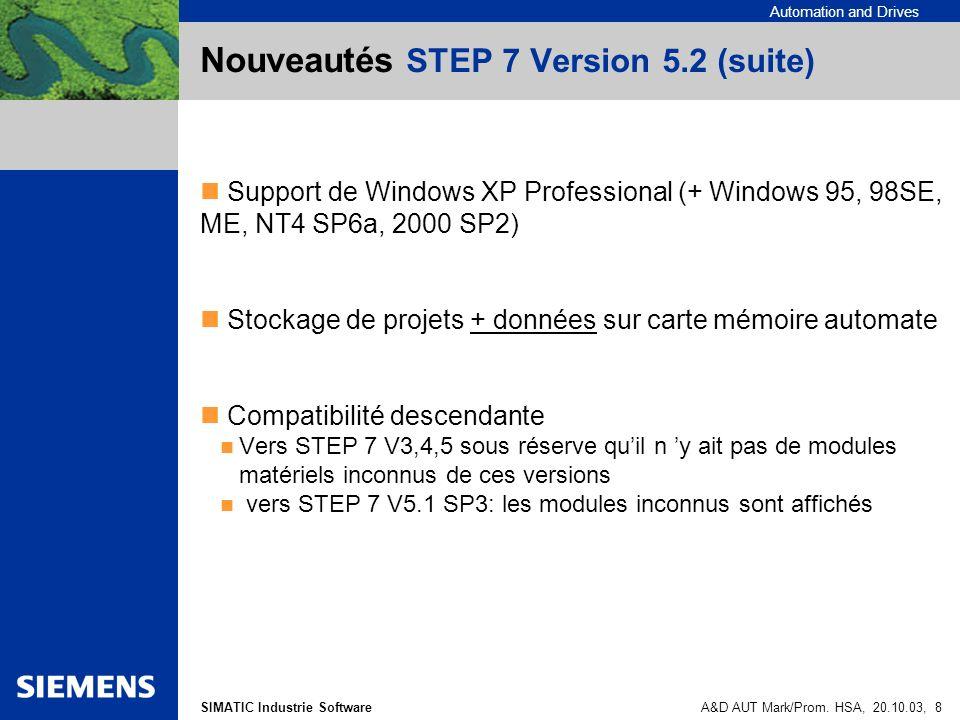 Nouveautés STEP 7 Version 5.2 (suite)