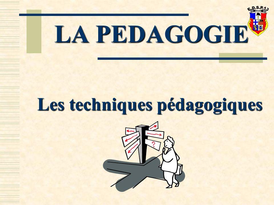 LA PEDAGOGIE Les techniques pédagogiques