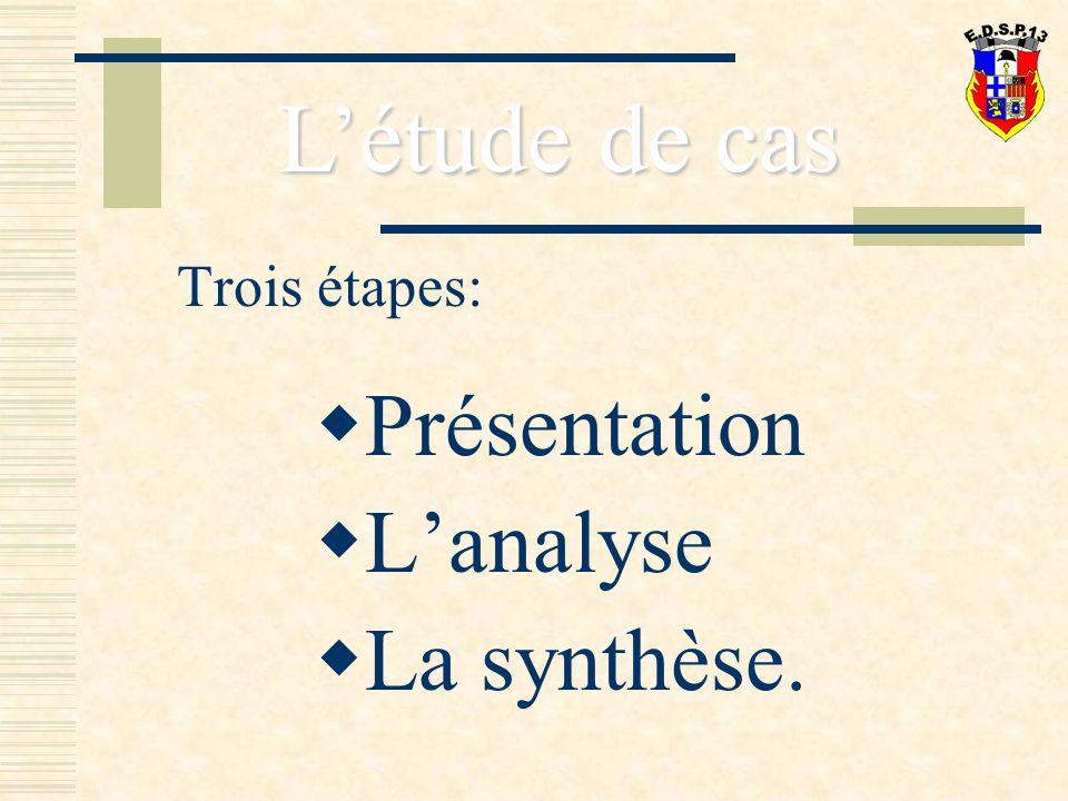 L'étude de cas Trois étapes: Présentation L'analyse La synthèse.