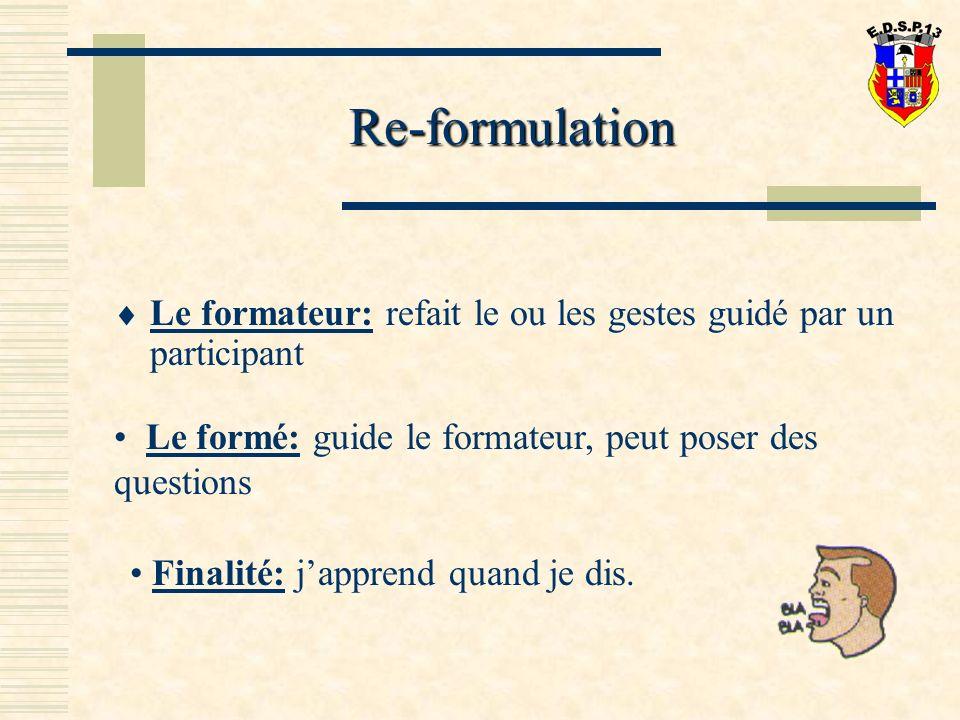 Re-formulation Le formateur: refait le ou les gestes guidé par un participant. Le formé: guide le formateur, peut poser des questions.