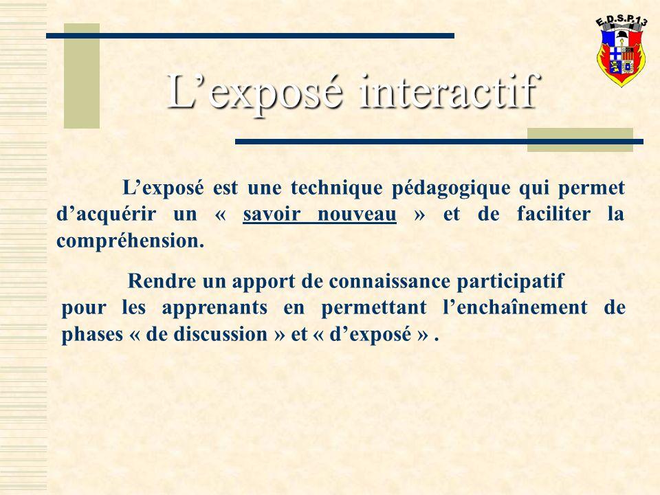 L'exposé interactif L'exposé est une technique pédagogique qui permet d'acquérir un « savoir nouveau » et de faciliter la compréhension.
