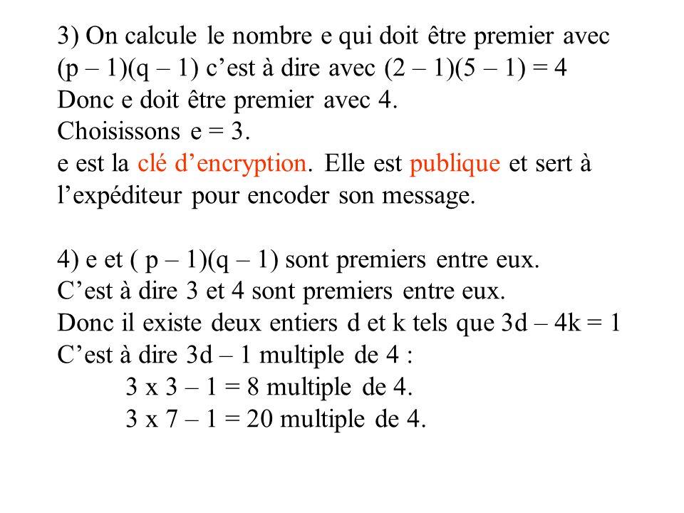 3) On calcule le nombre e qui doit être premier avec (p – 1)(q – 1) c'est à dire avec (2 – 1)(5 – 1) = 4