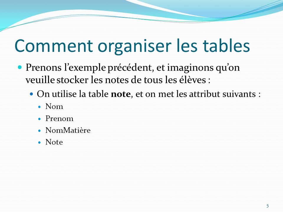 Comment organiser les tables