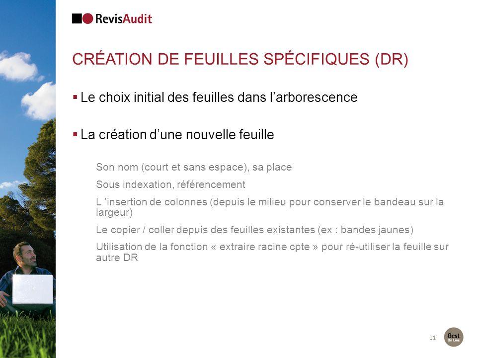 Création de feuilles spécifiques (DR)