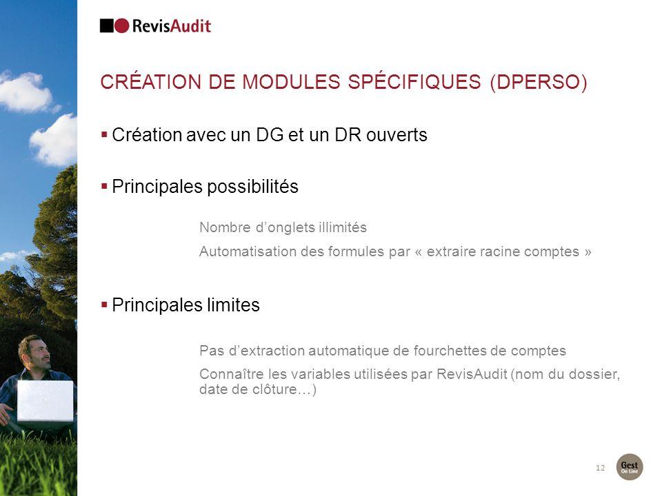 Création de modules spécifiques (Dperso)
