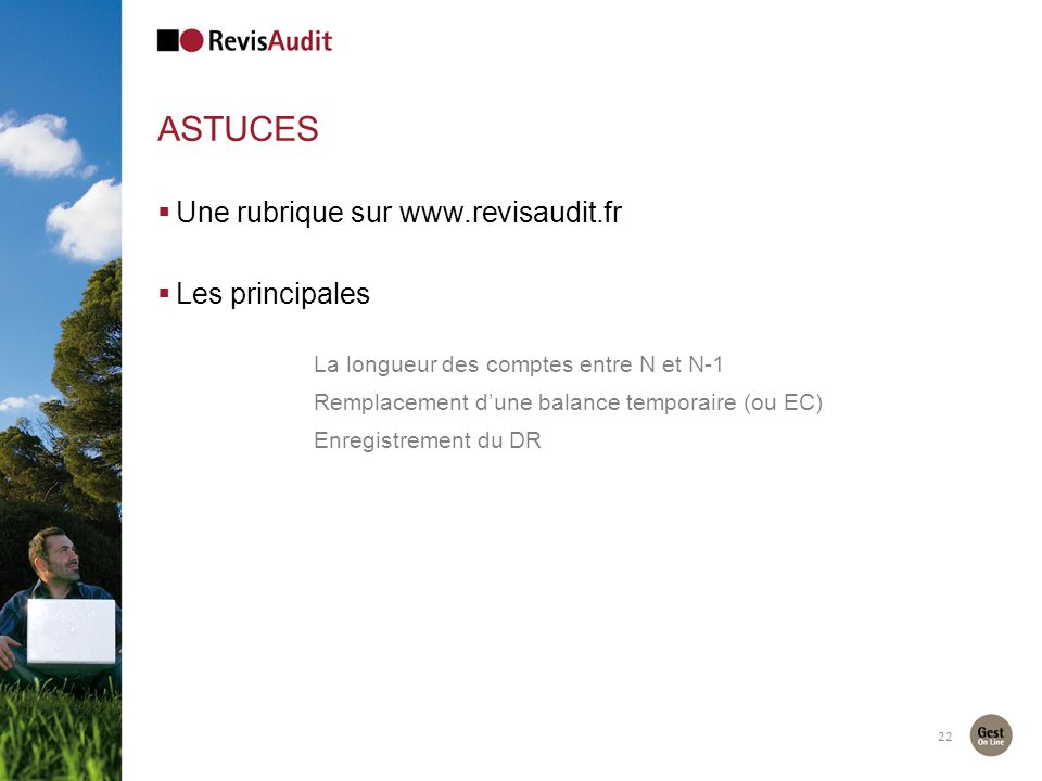 astuces Une rubrique sur www.revisaudit.fr Les principales