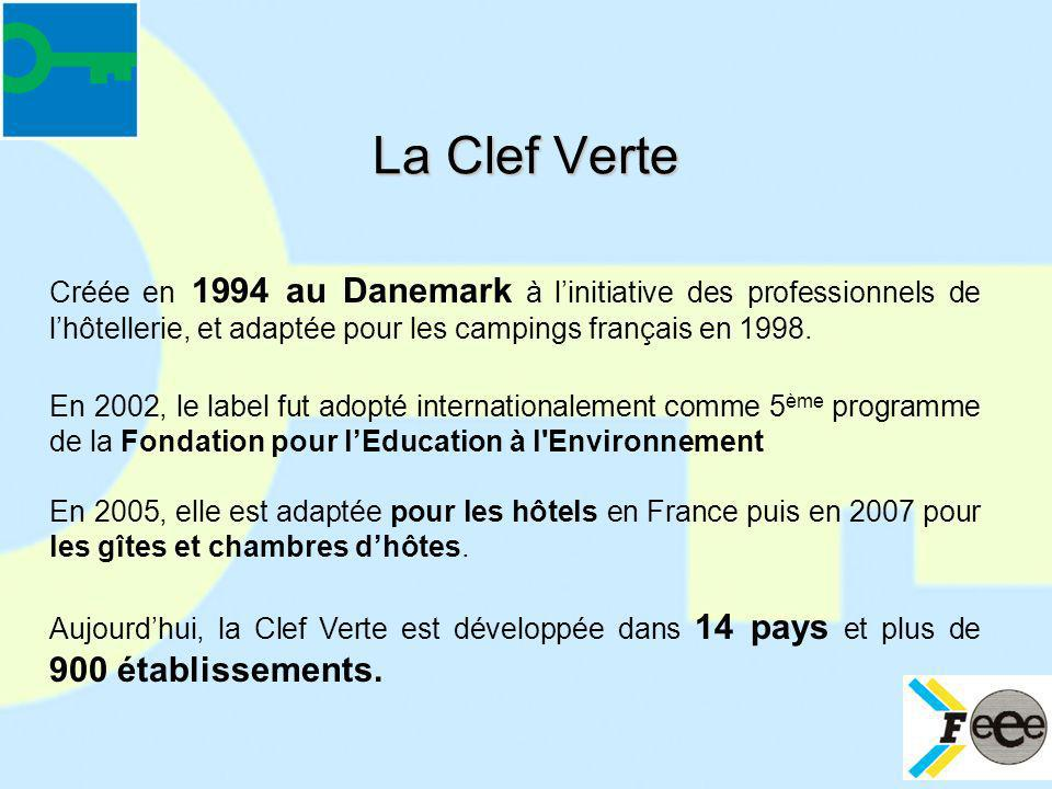 La Clef Verte Créée en 1994 au Danemark à l'initiative des professionnels de l'hôtellerie, et adaptée pour les campings français en 1998.