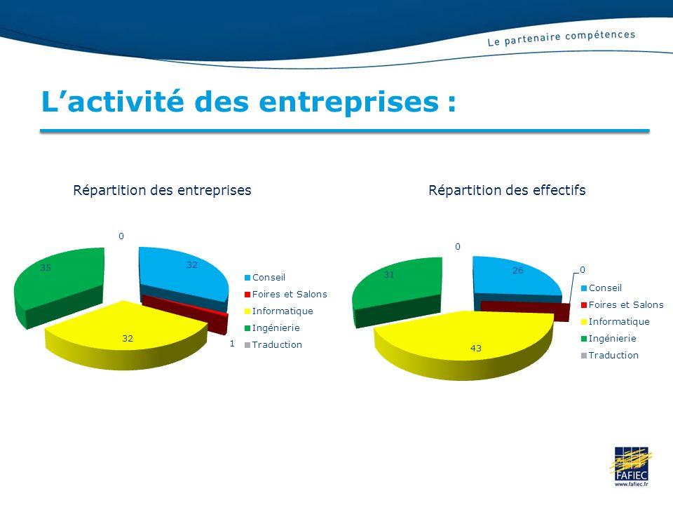 L'activité des entreprises :