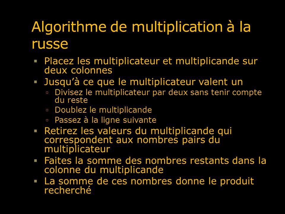 Algorithme de multiplication à la russe