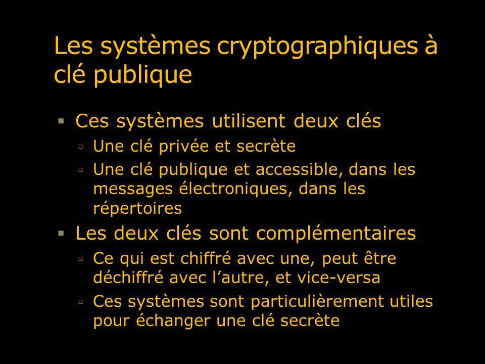Les systèmes cryptographiques à clé publique