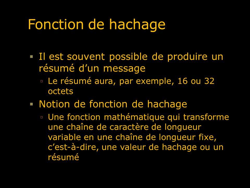 Fonction de hachage Il est souvent possible de produire un résumé d'un message. Le résumé aura, par exemple, 16 ou 32 octets.