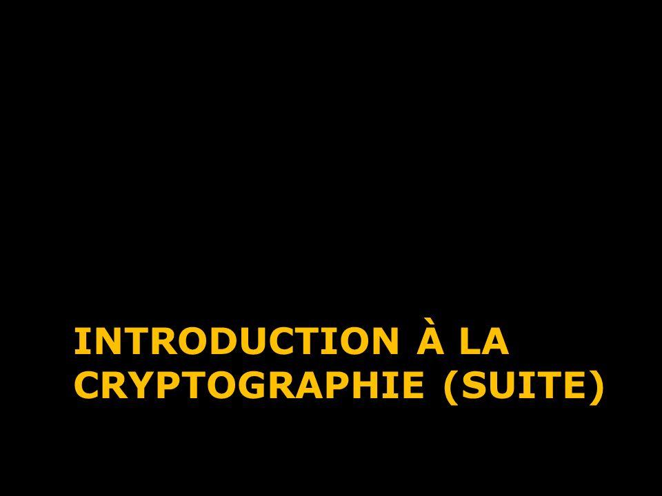 INTRODUCTION À LA CRYPTOGRAPHIE (SUITE)