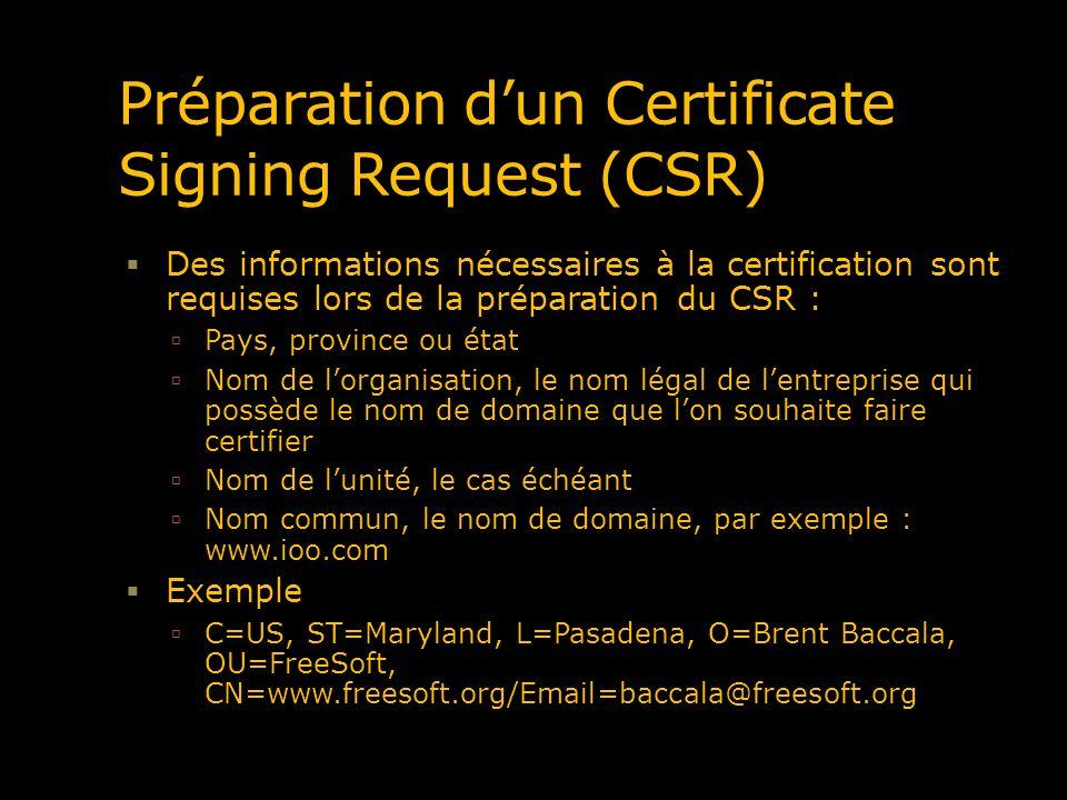 Préparation d'un Certificate Signing Request (CSR)