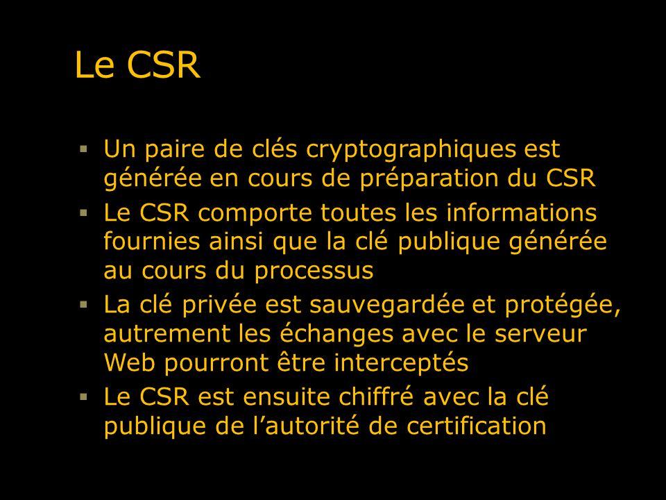 Le CSR Un paire de clés cryptographiques est générée en cours de préparation du CSR.