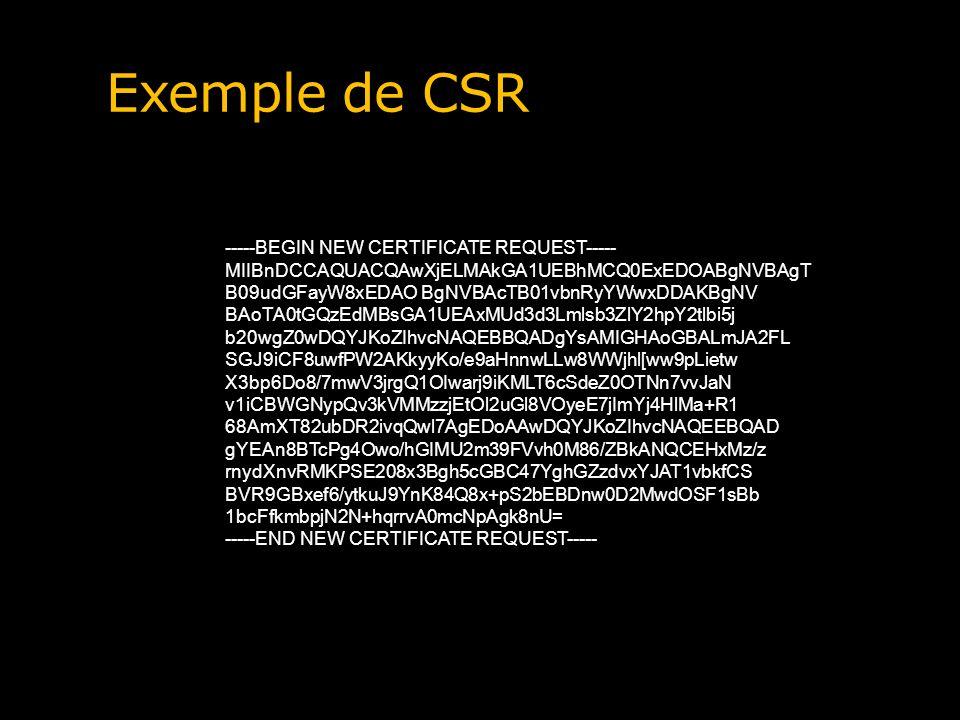 Exemple de CSR -----BEGIN NEW CERTIFICATE REQUEST-----