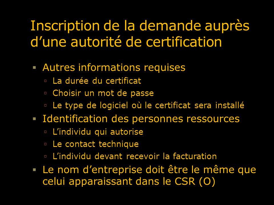 Inscription de la demande auprès d'une autorité de certification