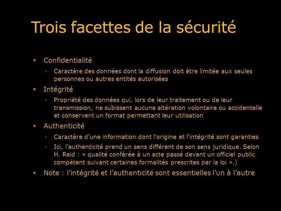 Trois facettes de la sécurité