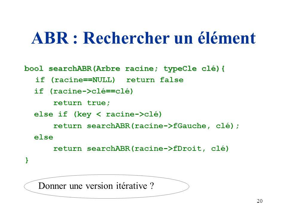 ABR : Rechercher un élément