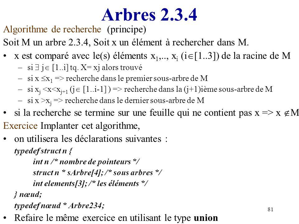 Arbres 2.3.4 Algorithme de recherche (principe)