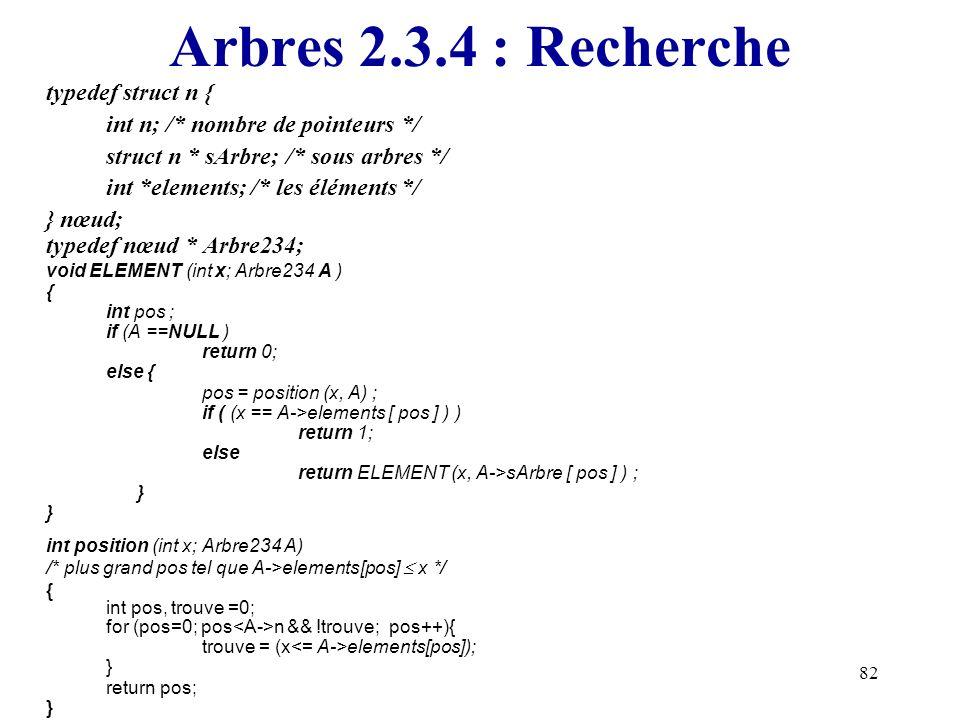 Arbres 2.3.4 : Recherche typedef struct n {