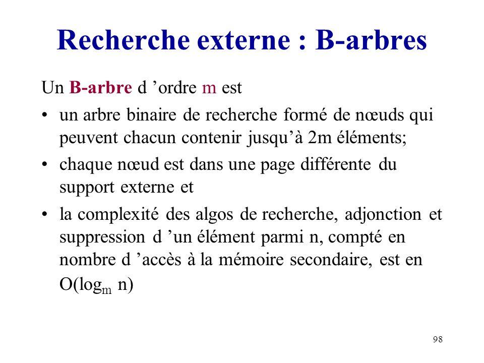 Recherche externe : B-arbres