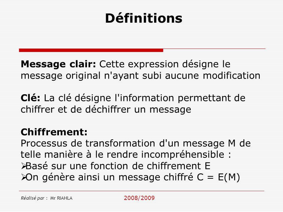 Définitions Message clair: Cette expression désigne le message original n ayant subi aucune modification.