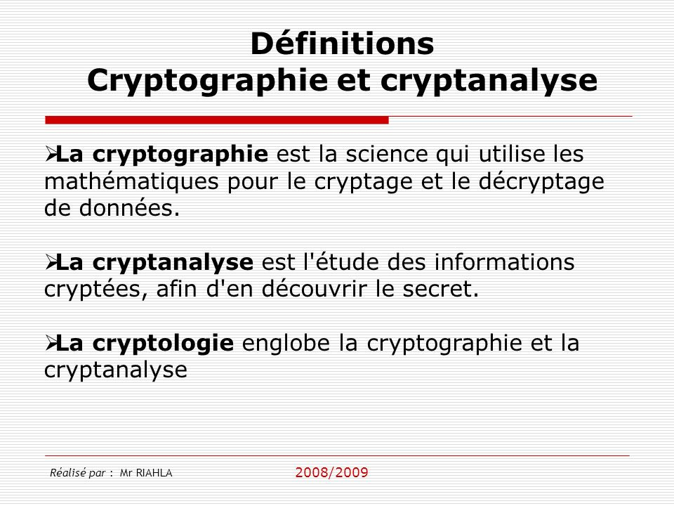 Cryptographie et cryptanalyse