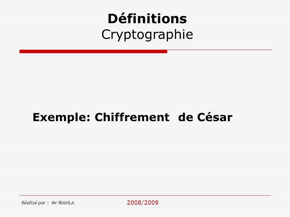 Définitions Cryptographie Exemple: Chiffrement de César 2008/2009