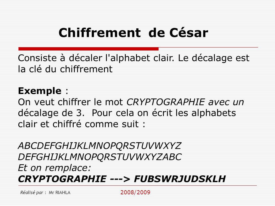 Chiffrement de César Consiste à décaler l alphabet clair. Le décalage est la clé du chiffrement. Exemple :