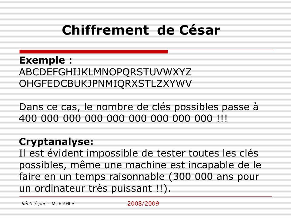 Chiffrement de César Exemple : ABCDEFGHIJKLMNOPQRSTUVWXYZ