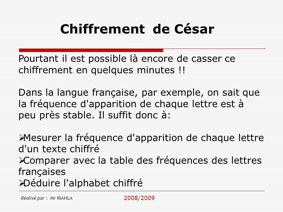 Chiffrement de César Pourtant il est possible là encore de casser ce chiffrement en quelques minutes !!