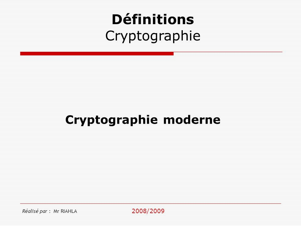 Cryptographie moderne