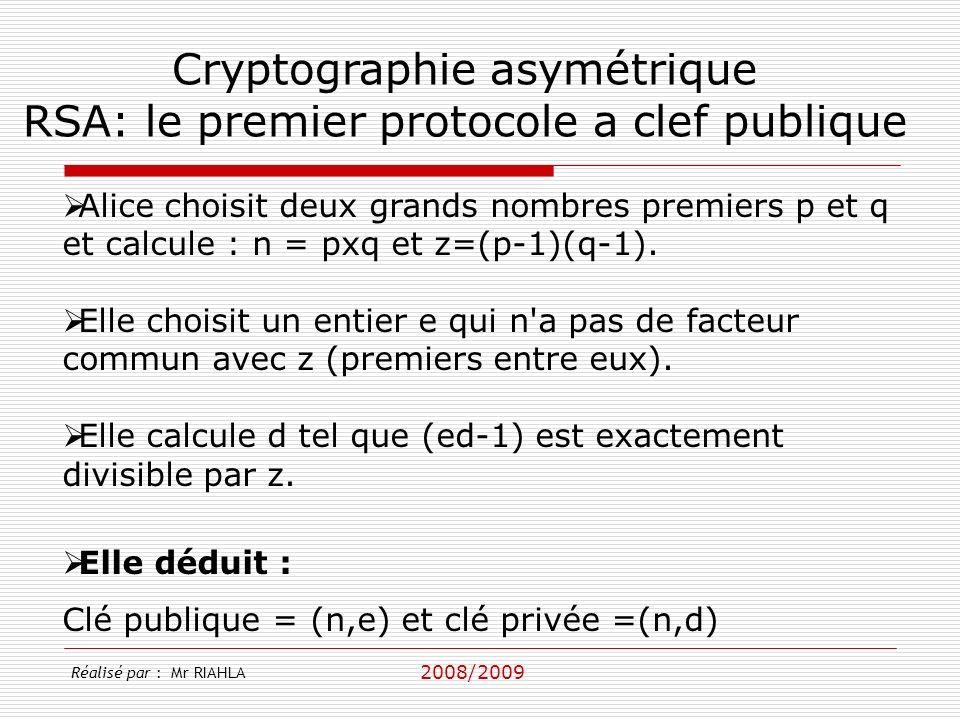 Cryptographie asymétrique RSA: le premier protocole a clef publique