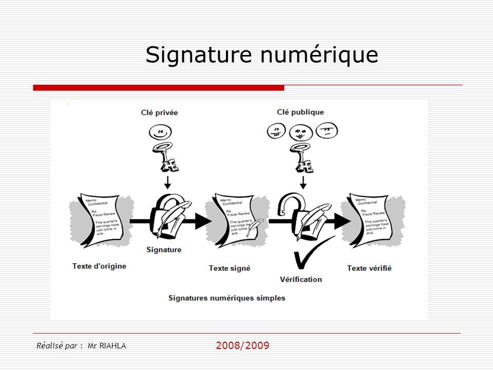 Signature numérique Réalisé par : Mr RIAHLA 2008/2009