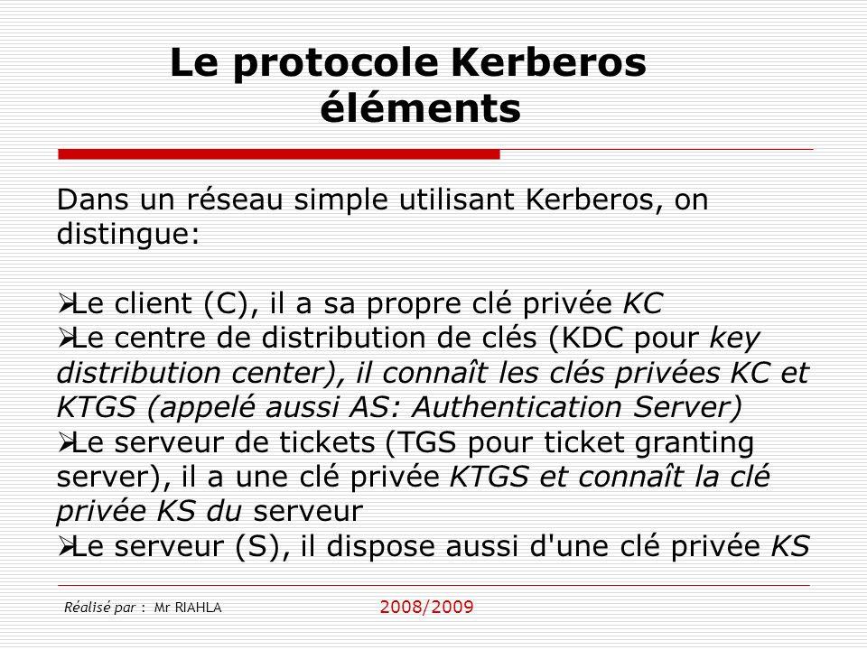 Le protocole Kerberos éléments