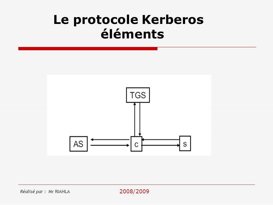 Le protocole Kerberos éléments Réalisé par : Mr RIAHLA 2008/2009
