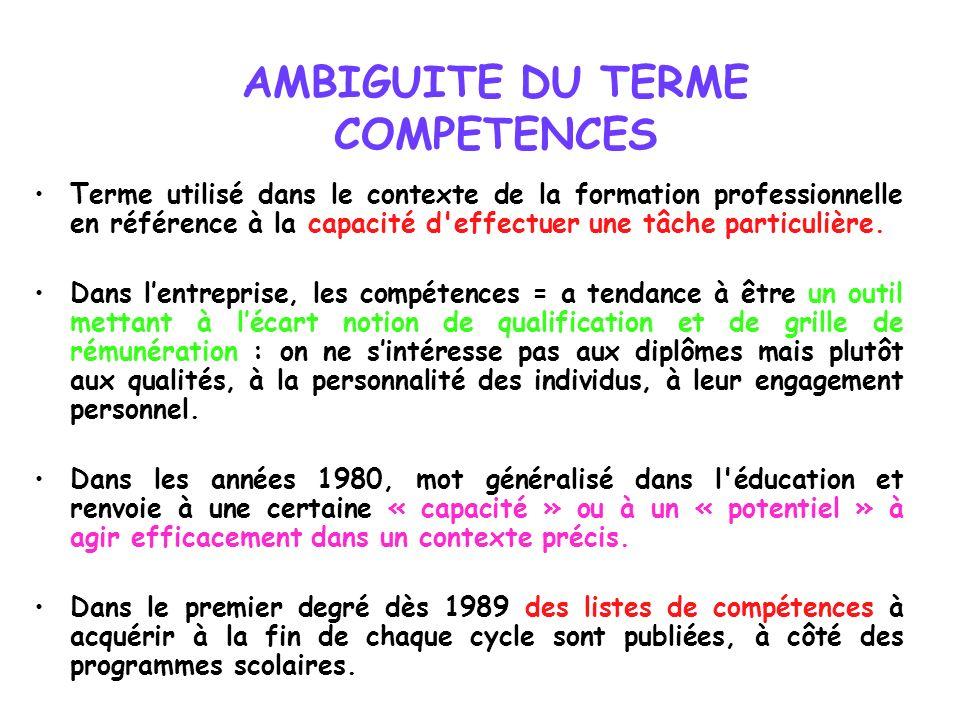 AMBIGUITE DU TERME COMPETENCES