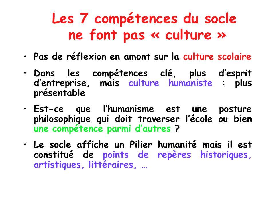 Les 7 compétences du socle ne font pas « culture »