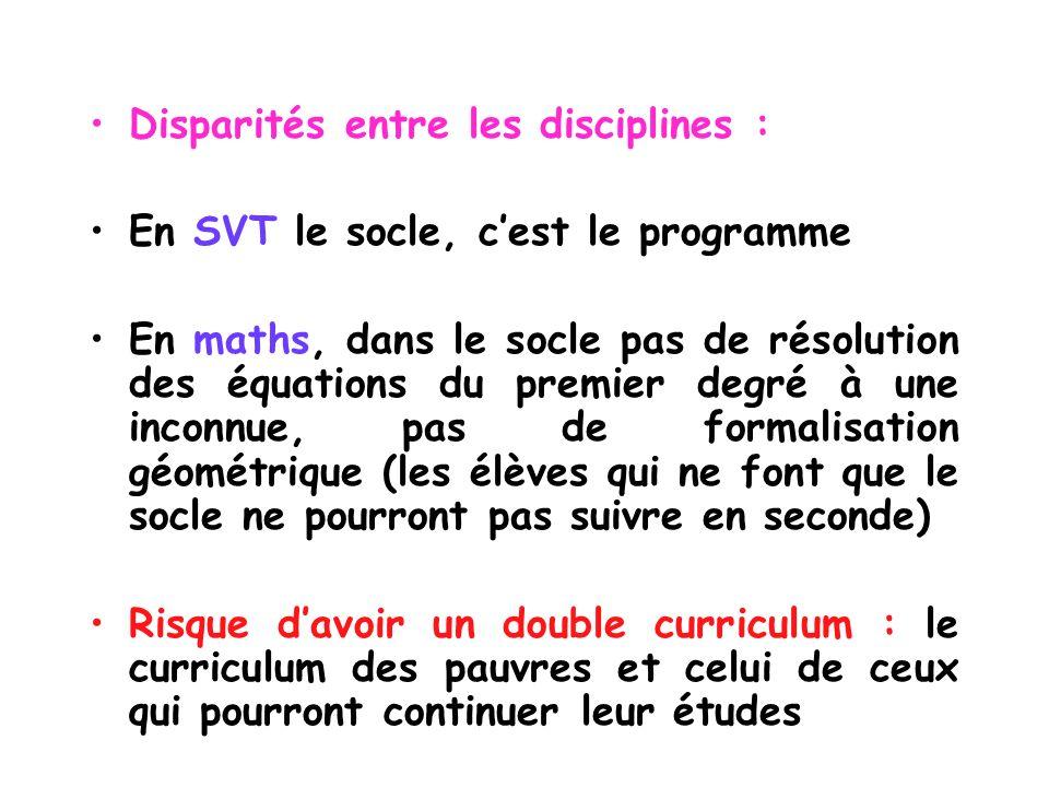 Disparités entre les disciplines :