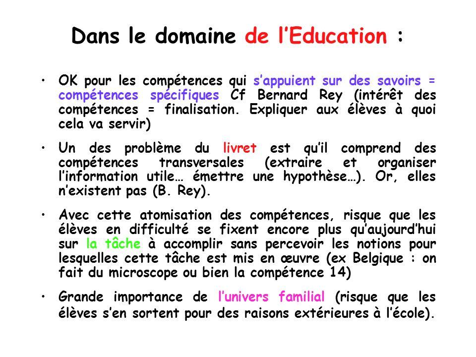 Dans le domaine de l'Education :