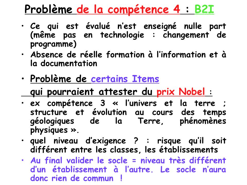 Problème de la compétence 4 : B2I