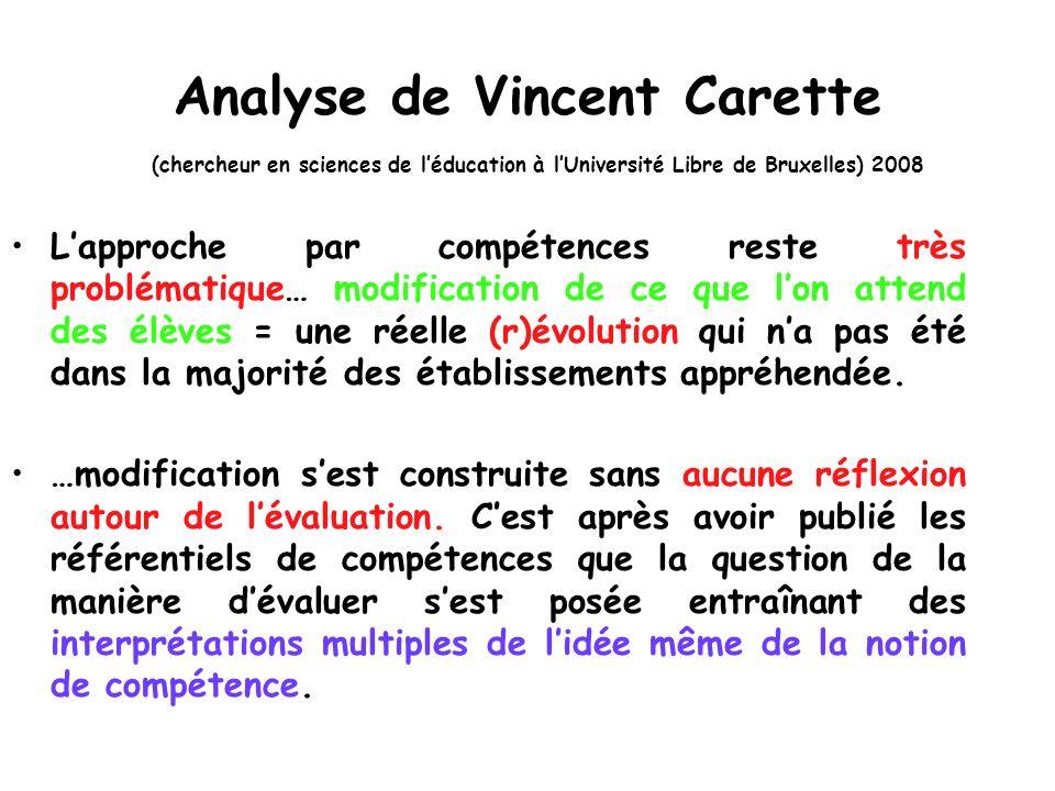 Analyse de Vincent Carette (chercheur en sciences de l'éducation à l'Université Libre de Bruxelles) 2008