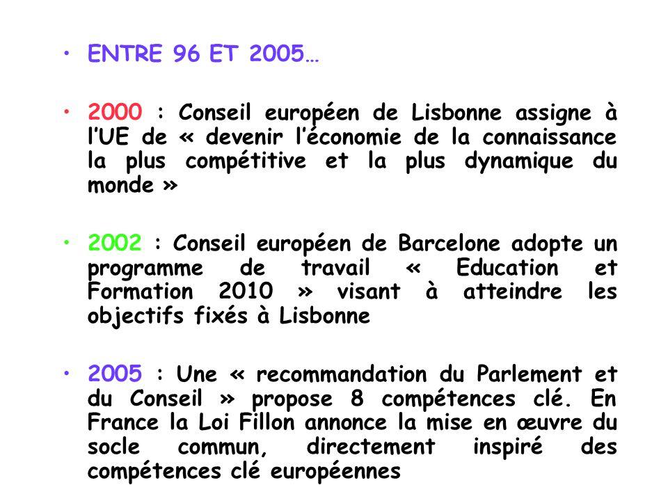 ENTRE 96 ET 2005…