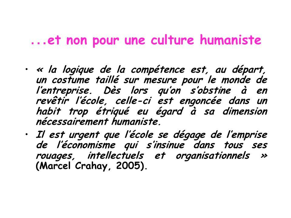 …et non pour une culture humaniste