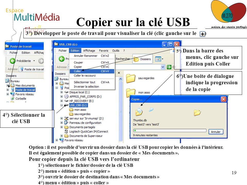 Copier sur la clé USB 3°) Développer le poste de travail pour visualiser la clé (clic gauche sur le )