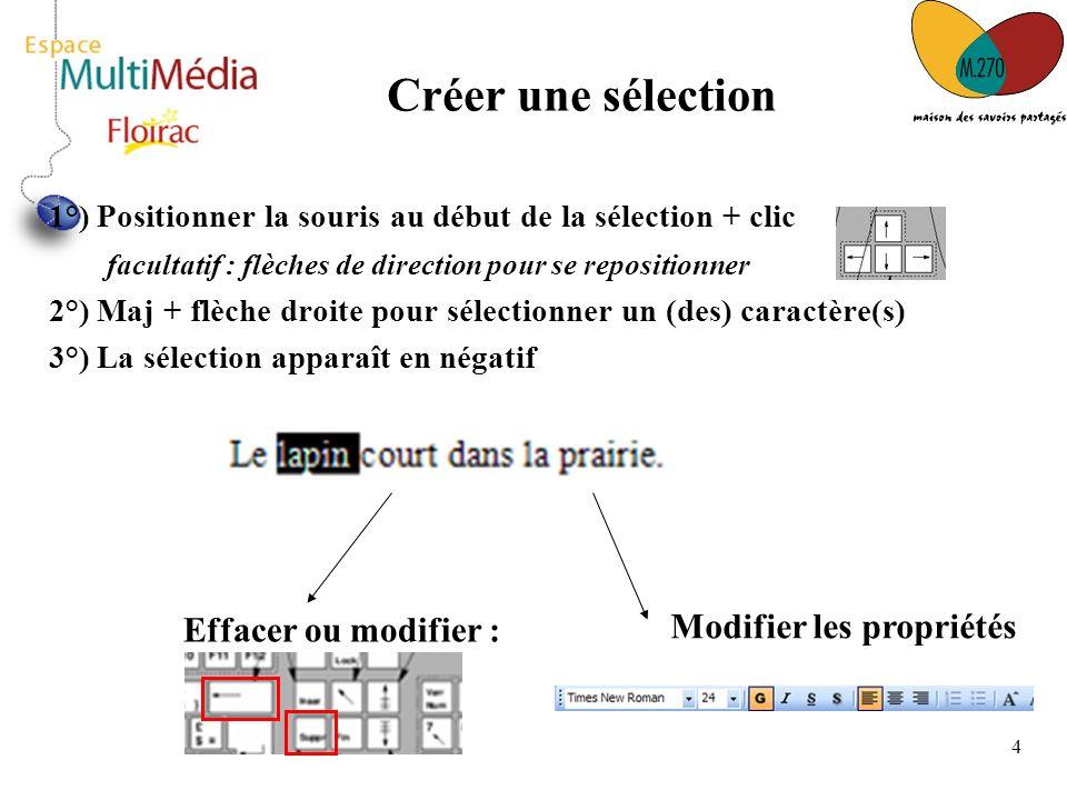 Créer une sélection Modifier les propriétés Effacer ou modifier :