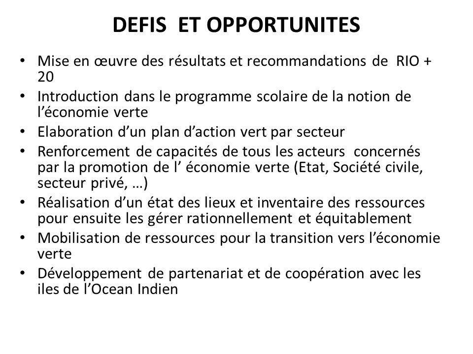 DEFIS ET OPPORTUNITES Mise en œuvre des résultats et recommandations de RIO + 20.