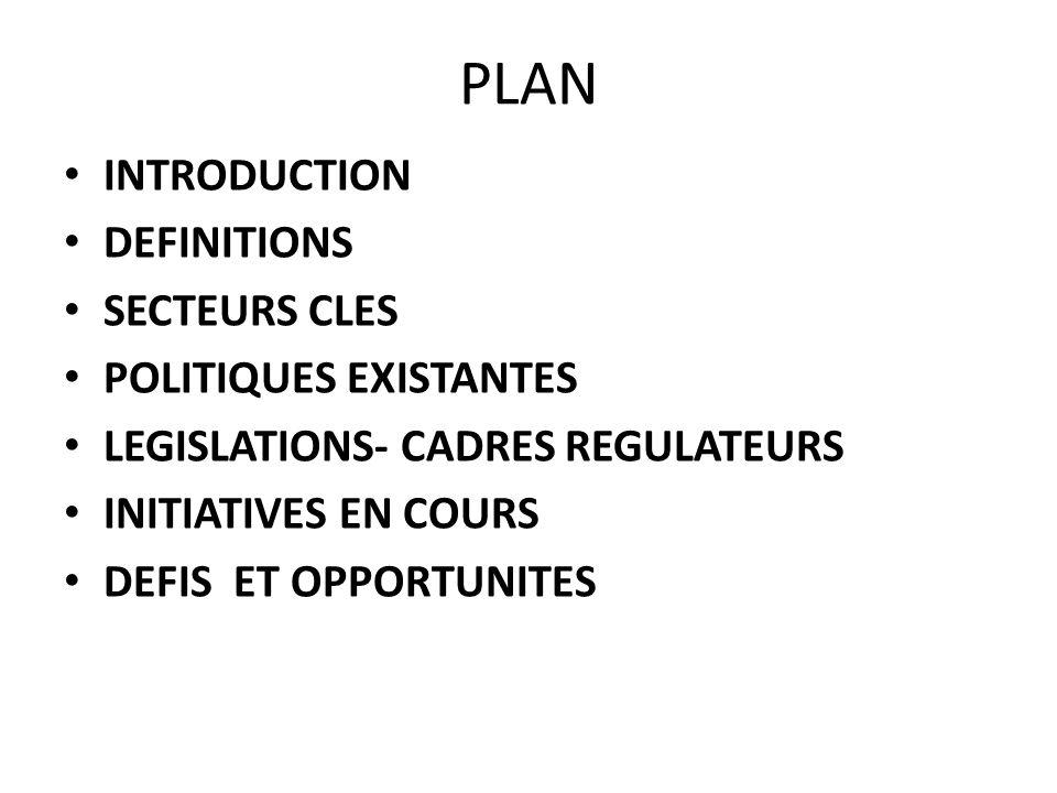 PLAN INTRODUCTION DEFINITIONS SECTEURS CLES POLITIQUES EXISTANTES