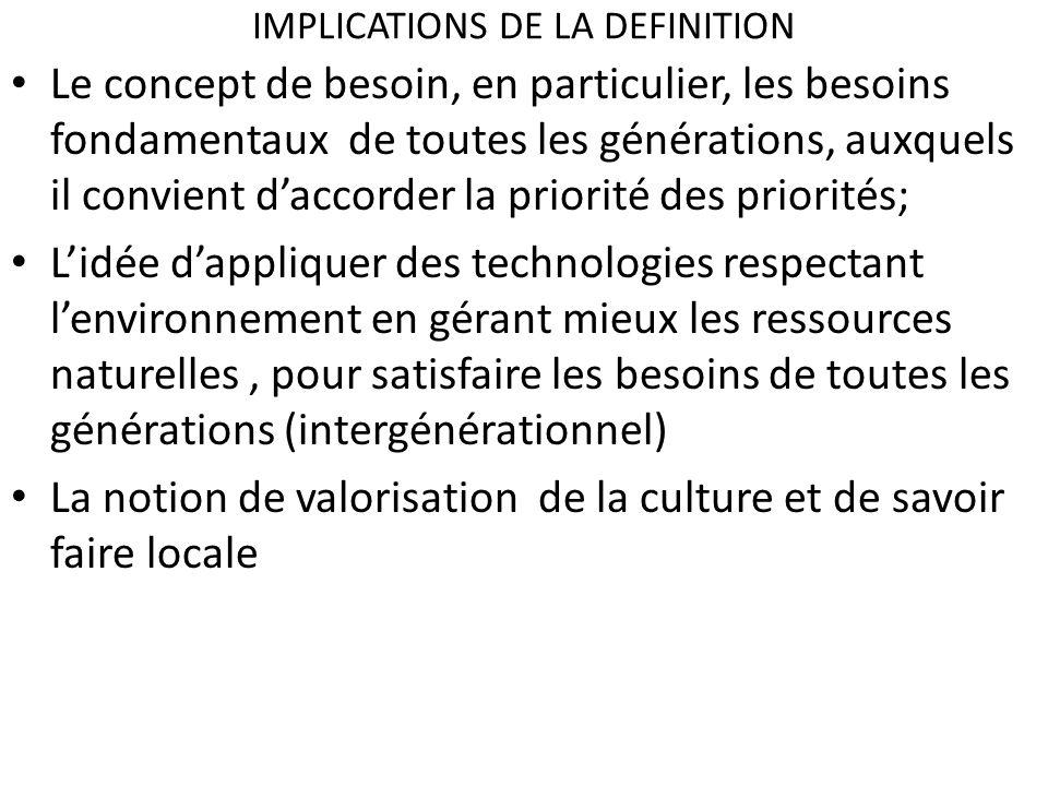 IMPLICATIONS DE LA DEFINITION