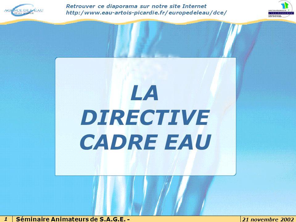LA DIRECTIVE CADRE EAU 7 novembre 2002